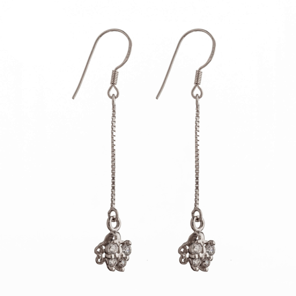 Ear Wires with Cubic Zirconia Inlays, Chain, and Pinch Bail in Sterling Silver 43mm x 8.4mm 23 Gauge