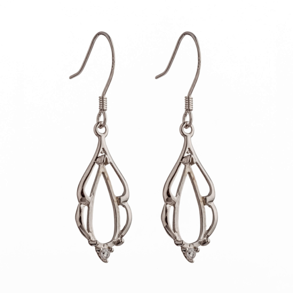 Ear Wires with Cubic Zirconia Inlays and Oval Mounting in Sterling Silver 37mm x 10mm