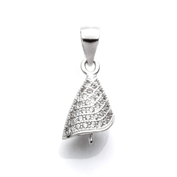 Angled Cone Pendant with Cubic Zirconia Inlays and Peg Mounting and Bail in Sterling Silver 20mm 8mm x 8mm