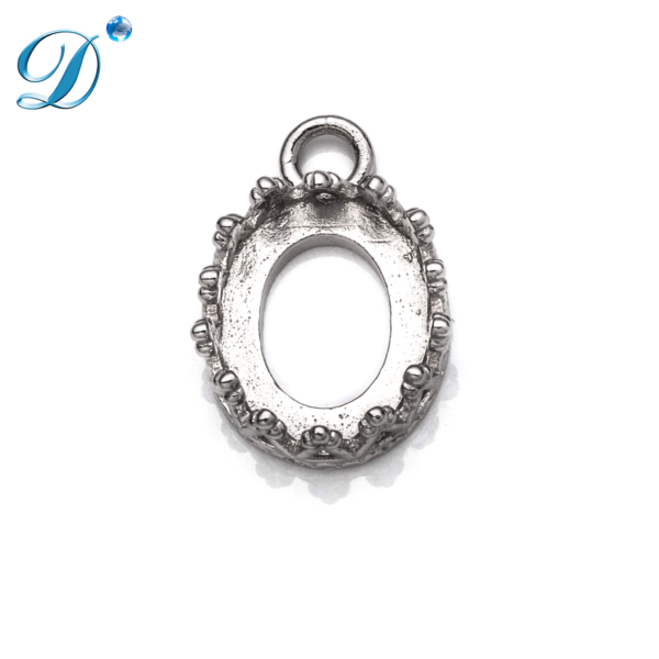 Cross Pendant with Oval Bezel Mounting in Sterling Silver 13.9mm x 9.6mm
