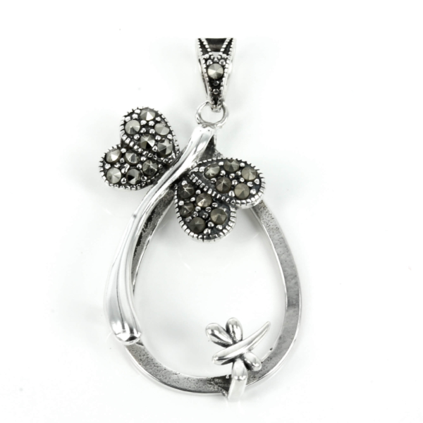 Dragonflies sterling silver pendant set with Cubic Zirconia inlays, soldered loop and bail 20mm x 38mm