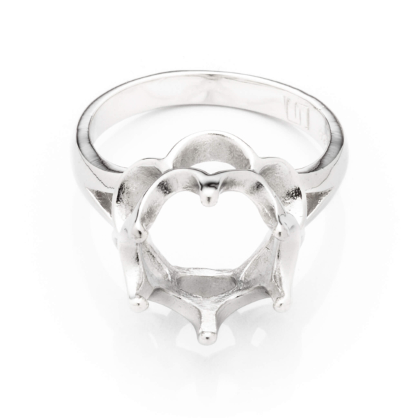 Dolly Ring with Round Crown Mounting in Sterling Silver for 10mm Round Stones