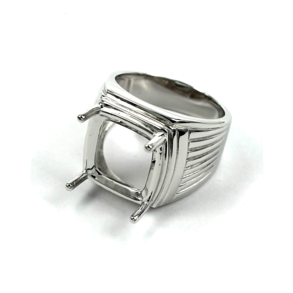 Patterned Square Ring with Rectangular Prongs Mounting in Sterling Silver 15mm x 16mm